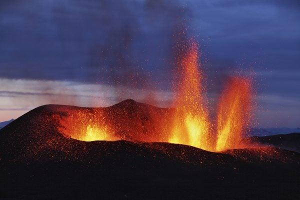 Molten lava erupts from Eyjafjallajokull, Fimmvorduhals, Iceland