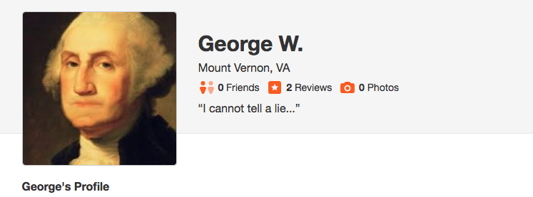 George Washington Yelp Review