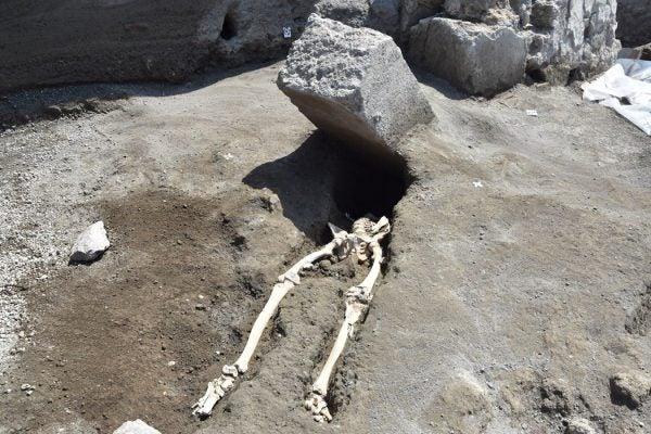 Pompeii boulder skeleton