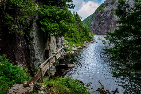 Avalanche Lake trail at Adirondack High Peaks, New York.