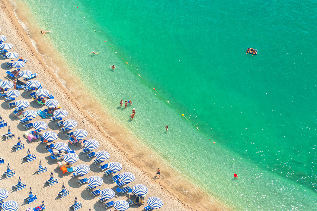 aerial view of beach with people