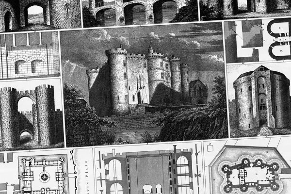 Engraved Illustrations of Various Castles and Fortified Structures