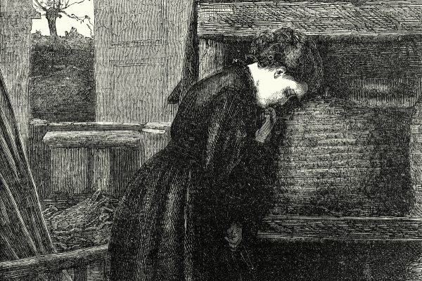 Vintage engraving of Victorian woman Telling the Bees 1860s