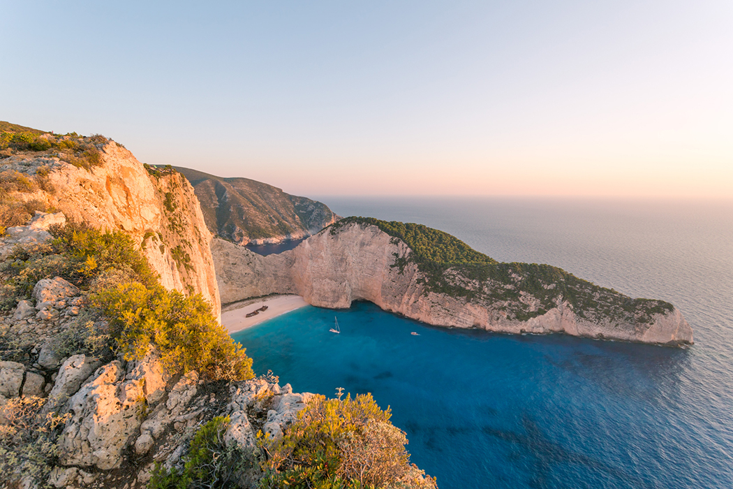 Colourful sunset over famous shipwreck beach. Zakynthos, Greek Islands, Greece