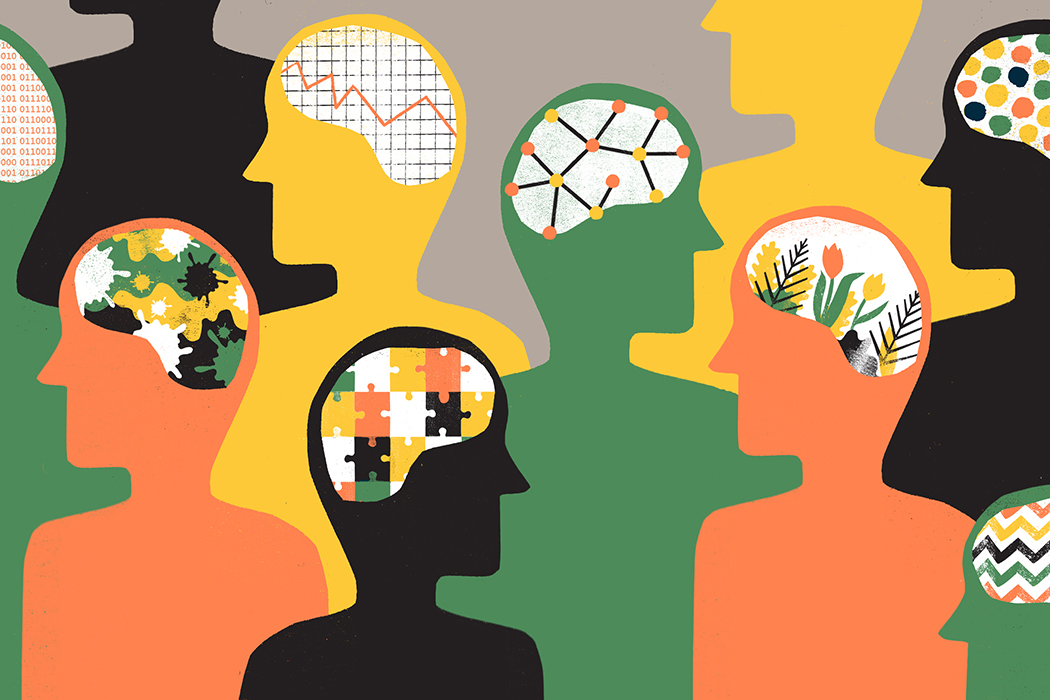 a group of silhouettes with different brain patterns including puzzle pieces, flowers, a stock market chart