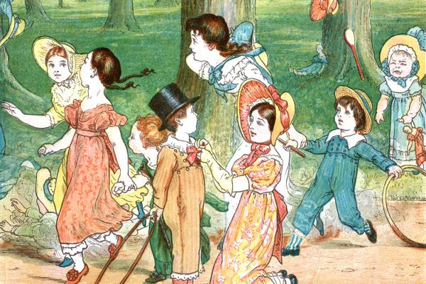 A group of Victorian children playing in a park