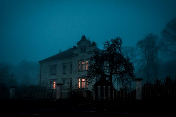 creepy old house at night