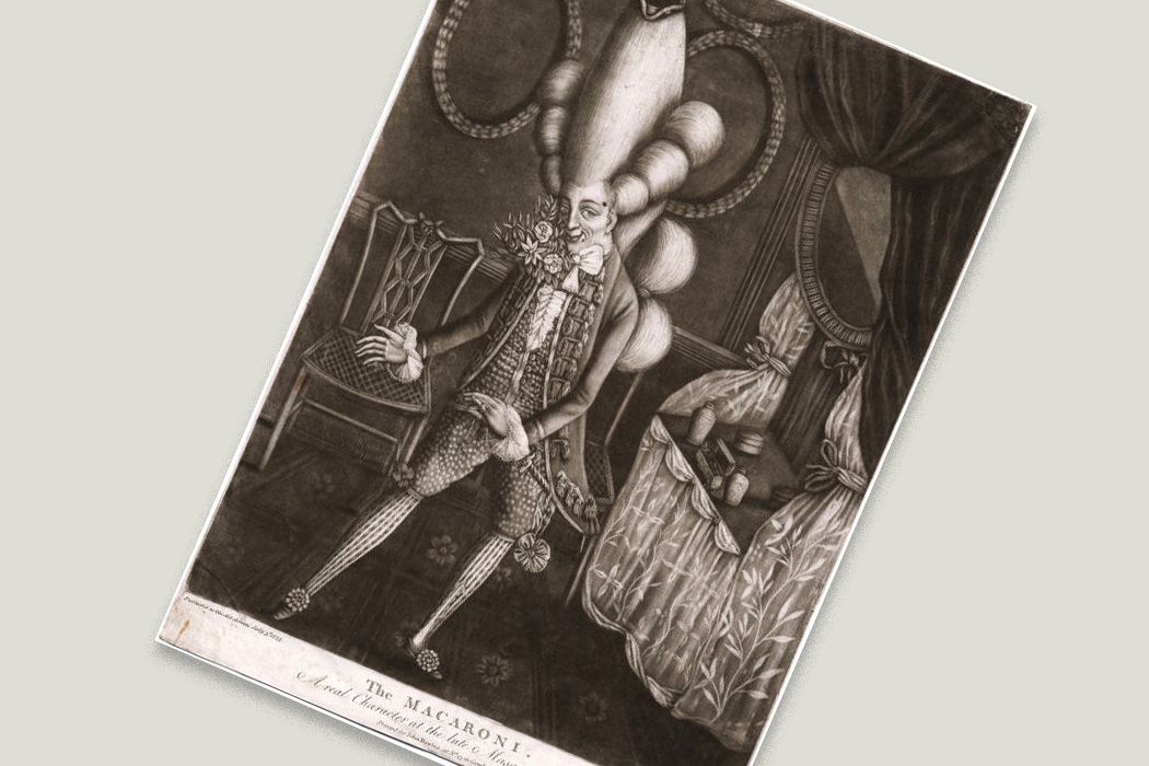 """The Macaroni. A real Character at the late Masquerade"", mezzotint by Philip Dawe, 1773"