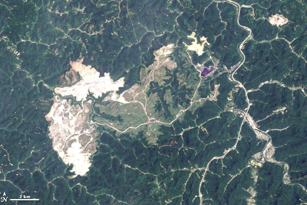 The Hobet mine in West Virginia taken by NASA LANDSAT in 2009