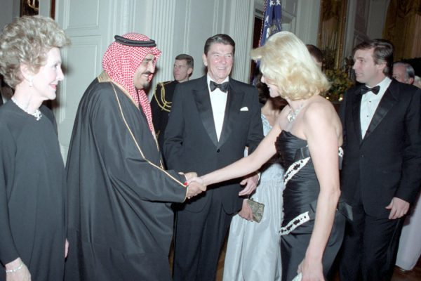 King Fahd with U.S. President Ronald Reagan and future U.S. President Donald J. Trump in 1985