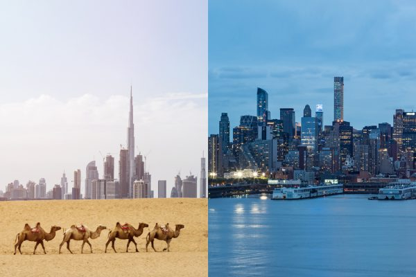 Side-by-side image of Dubai and Manhattan