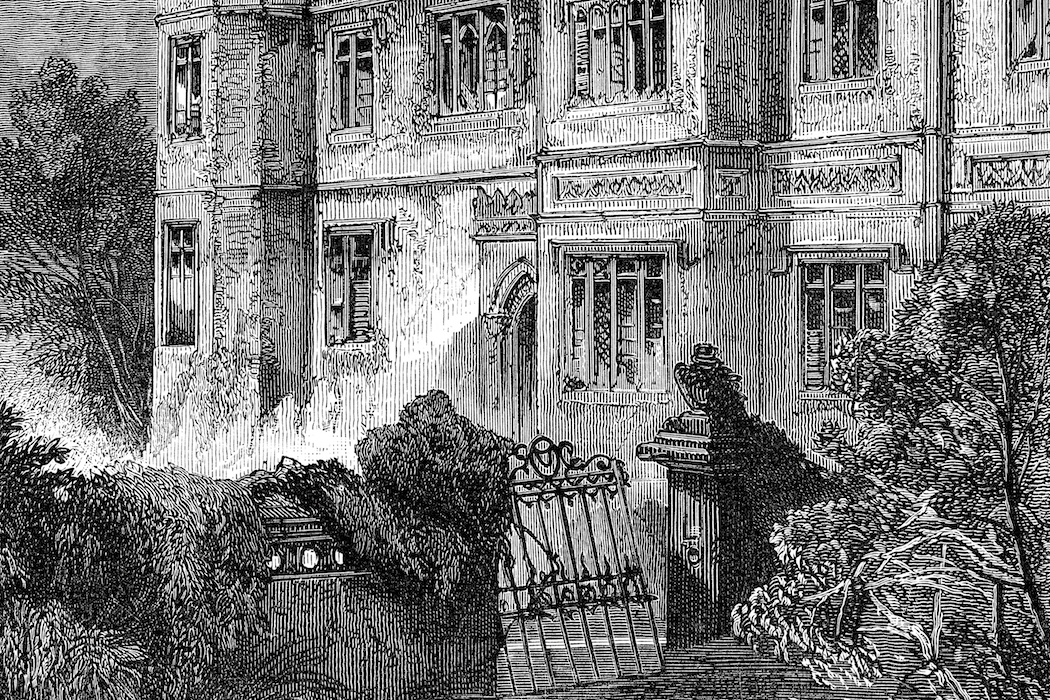vintage engraving from 1876 of a old victorian haunted house