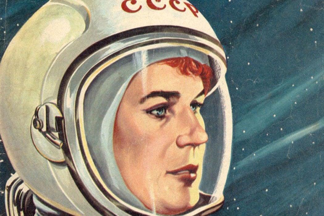 Illustrated portrait of Russian astronaut Valentina Tereshkova