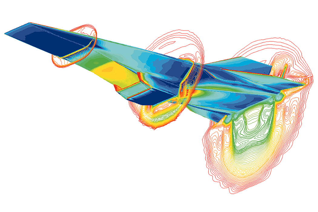 Computational fluid dynamics image of an experimental unmanned hypersonic aircraft
