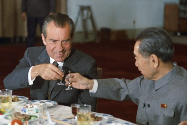 Nixon and Chinese Premier Zhou Enlai toast during Nixon's 1972 visit to China