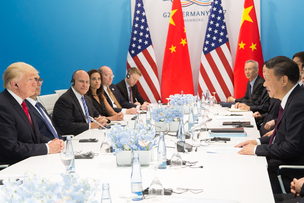 U.S. President Donald Trump (left) and Chinese President Xi Jinping (right) meet in Hamburg, Germany in July 2017.