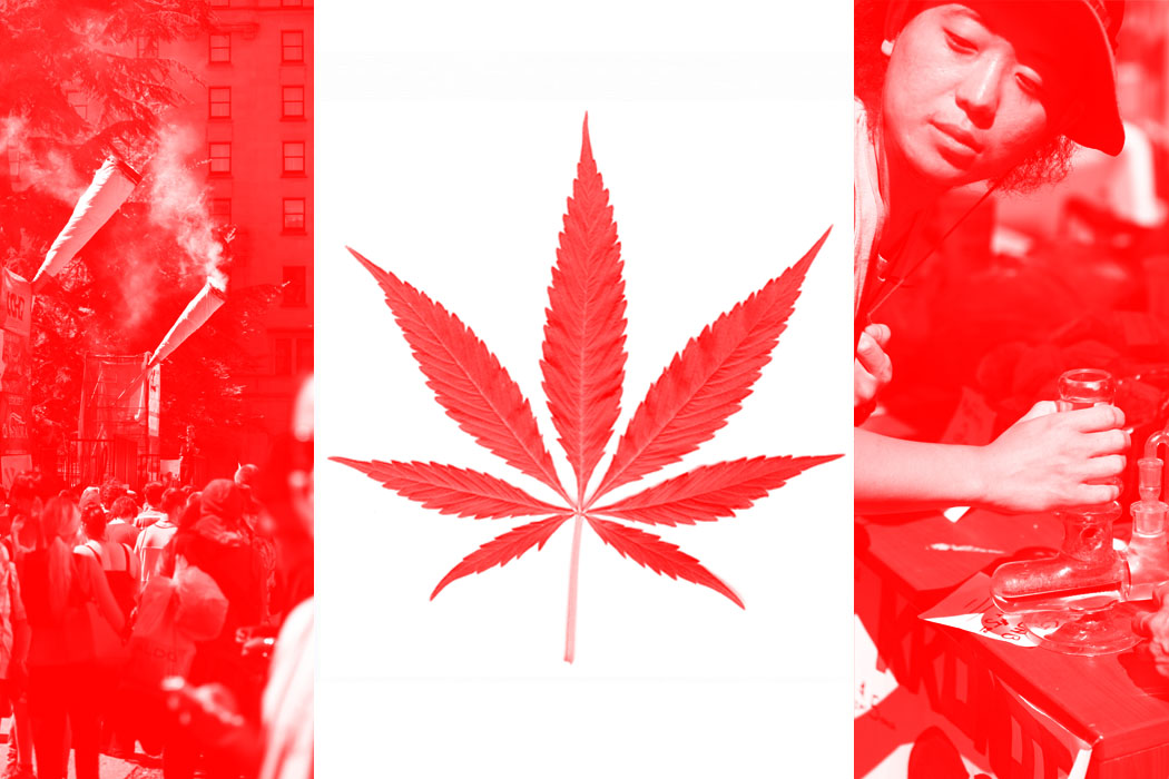 A Canadian flag with a pot leaf at its center