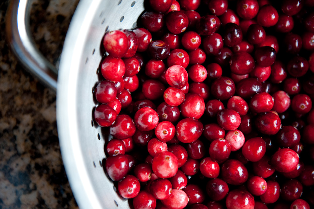 Cranberries in a strainer