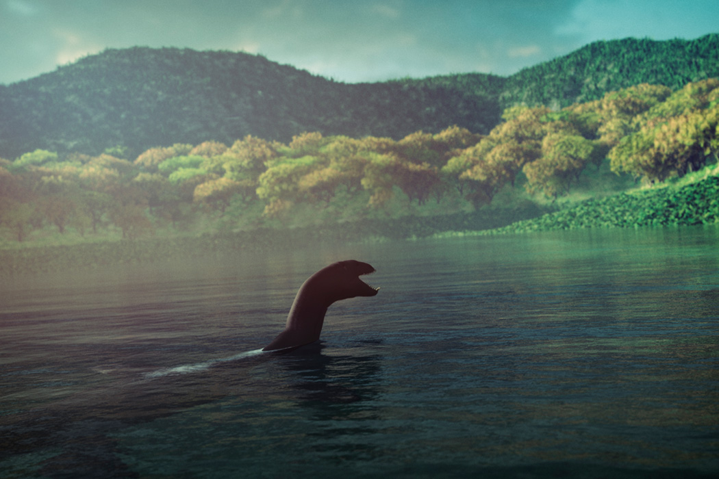 The Loch Ness Monster swimming in the lake