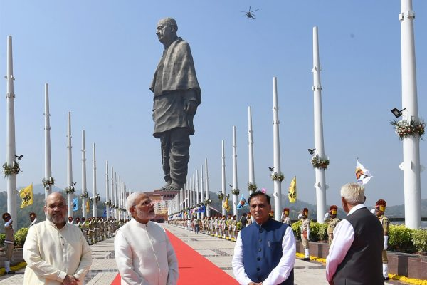 The dedication ceremony of the Statue of Unity in Gujarat, India.