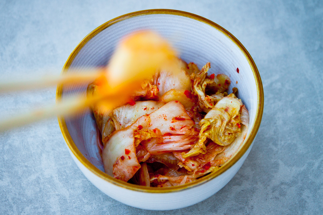 A bowl of kimchi, which contains probiotics