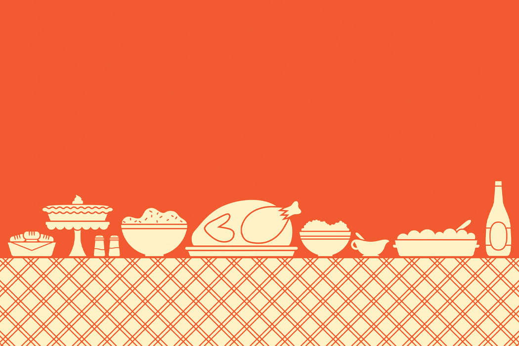 An illustration of a thanksgiving table