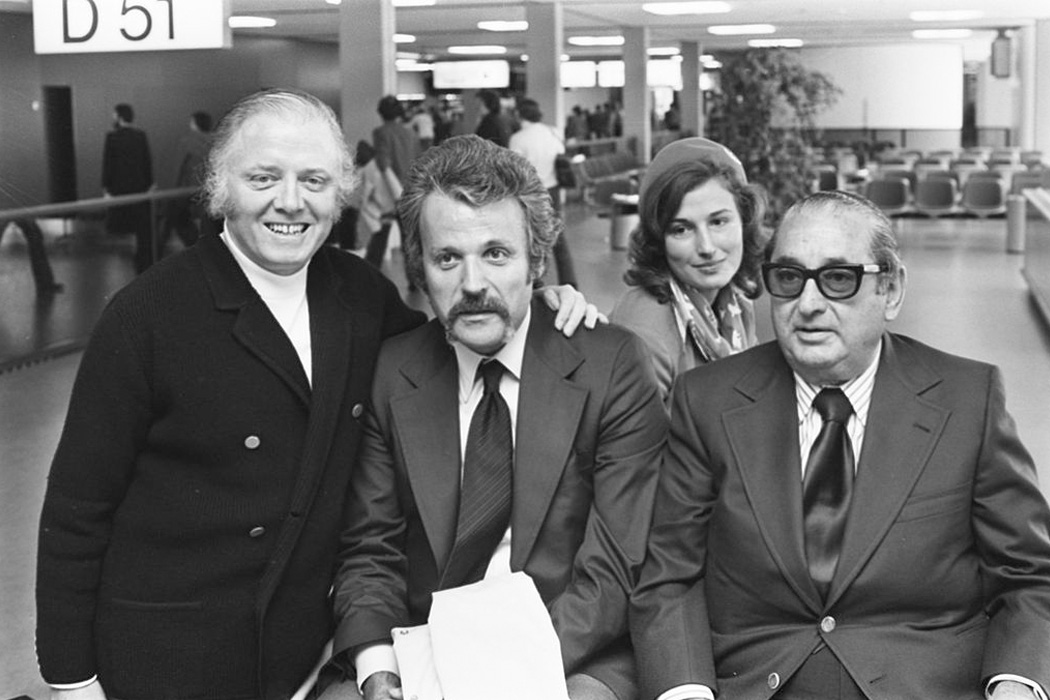 Richard Attenborough, William Goldman and Joe Levine, 1975