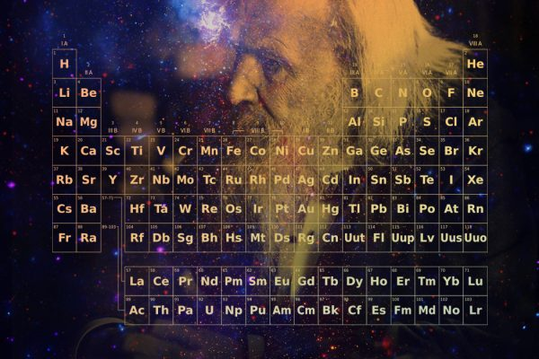 Composite image of Dmitri Mendeleev, a periodic table, and the Milky Way galaxy