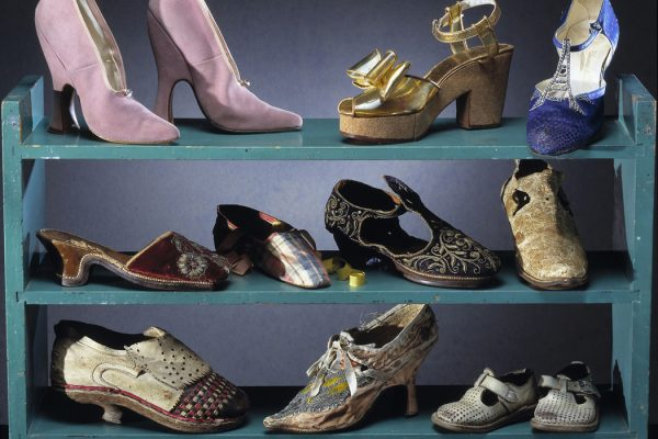 A rack of shoes from different eras