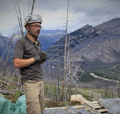 Palaeontologist Jean-Bernard Caron in the field at the Burgess Shale.