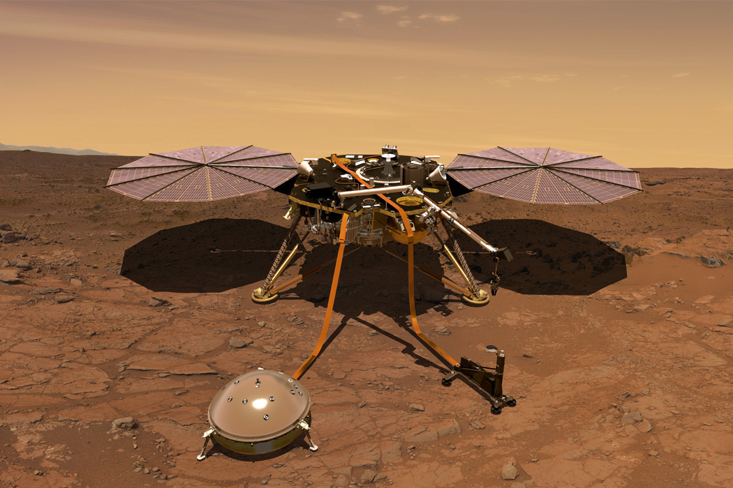 The InSight lander operating on the surface of Mars.