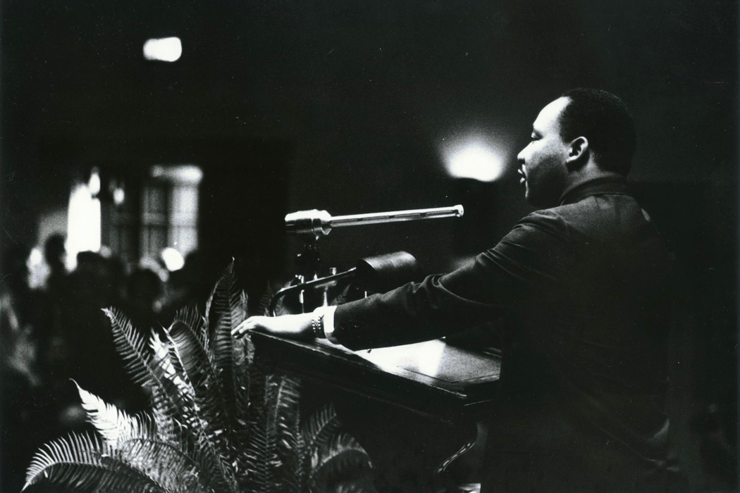 Dr. Martin Luther King Jr. speaking at Duke University on November 13, 1964