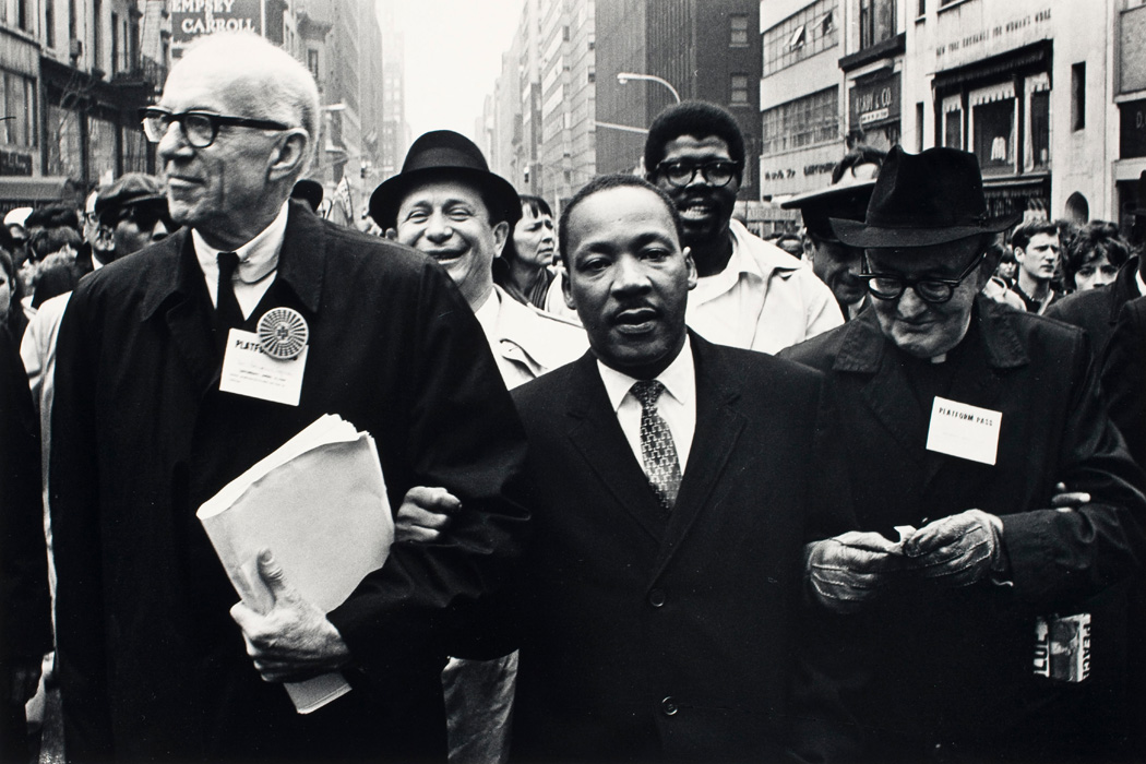 Dr. King marching in the Solidarity Day Parade at the United Nations Building, April 15, 1967