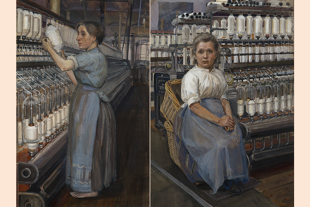 In a Glasgow Cotton Mill: Minding a Pair of Fine Frames and In a Glasgow Cotton Spinning Mill: Changing the Bobbin, 1907 by Sylvia Pankhurst