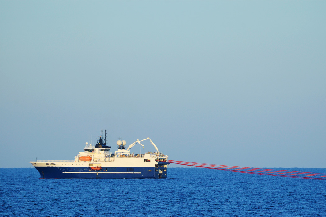 A seismic survey vessel