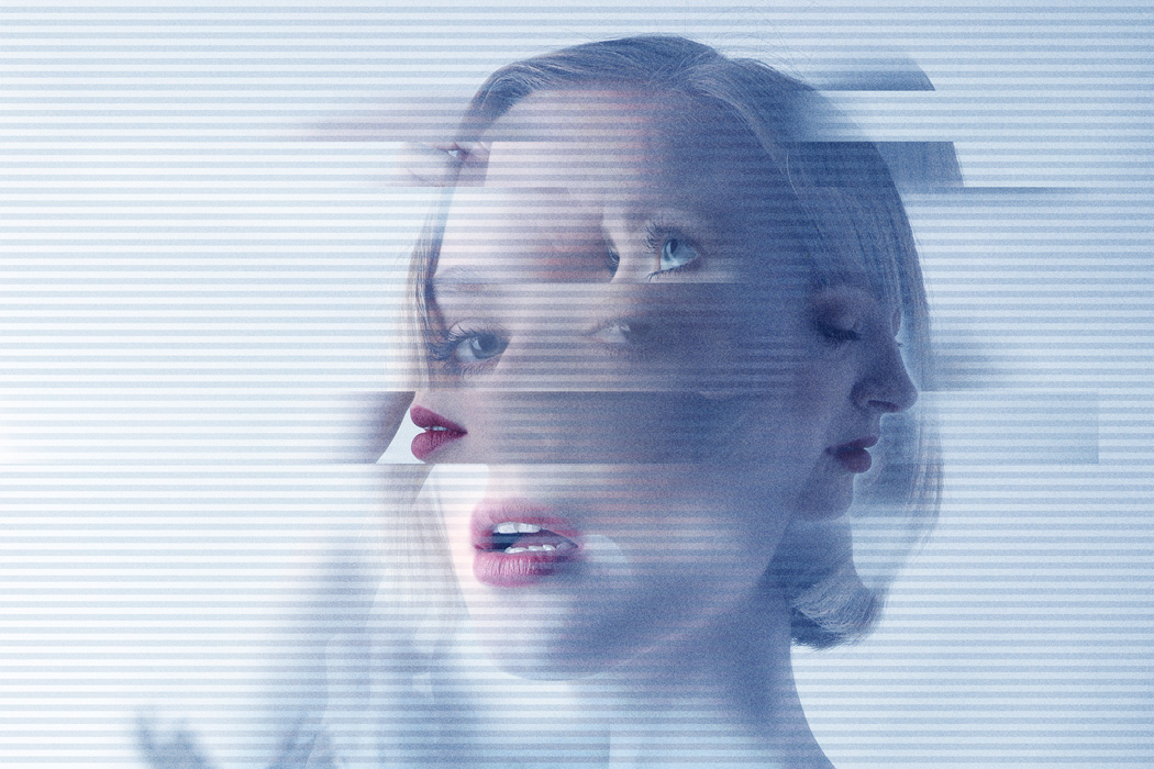 A composite photograph depicting a woman with mental health issues