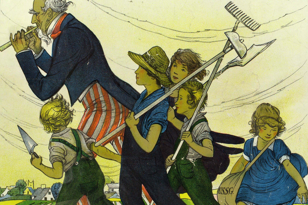Poster shows Uncle Sam playing a fife, leading a group of children carrying gardening tools and a seed bag.