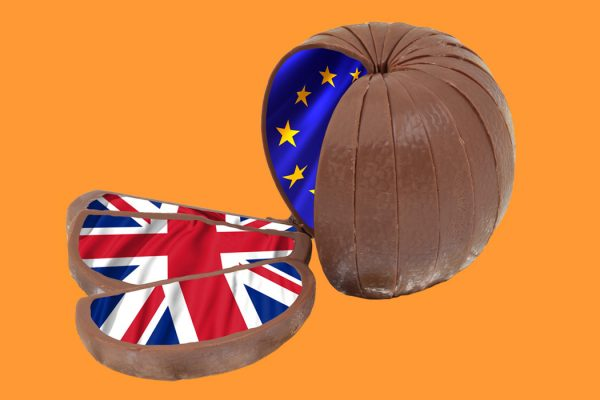 A chocolate orange meant to symbolize Brexit.