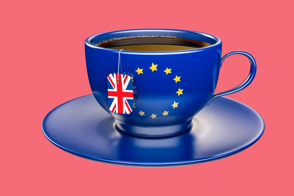 A teacup meant to symbolize Brexit.