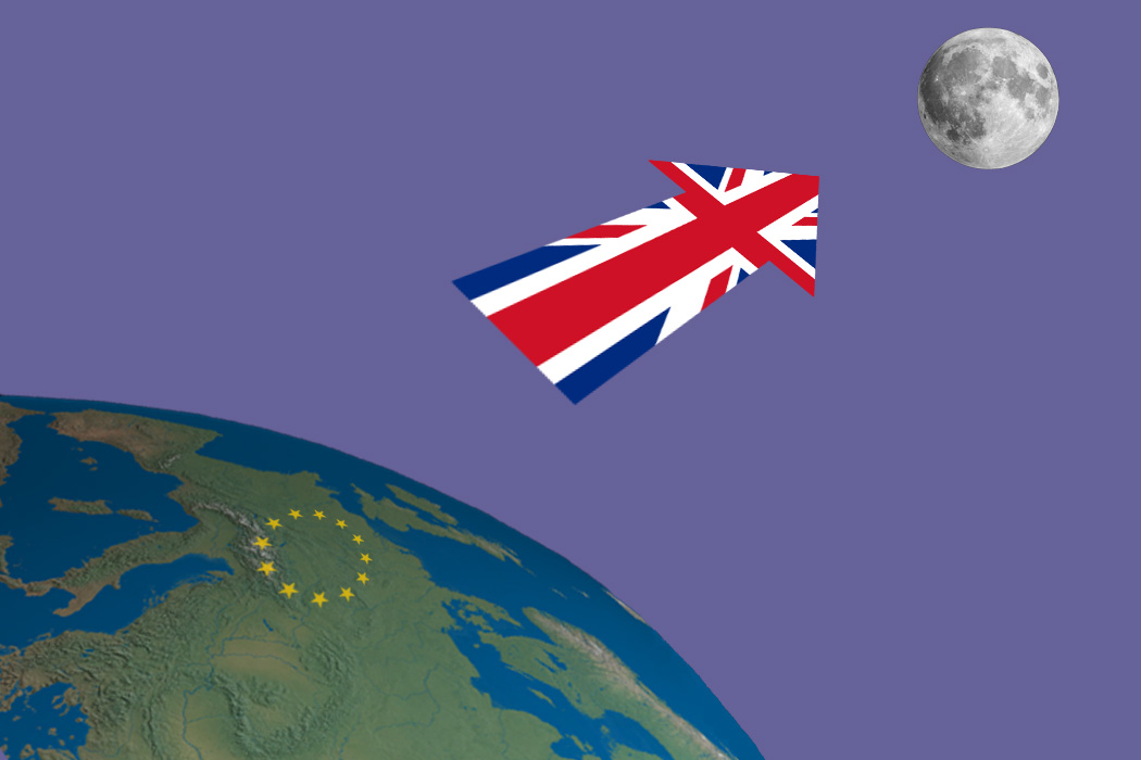 An illustration of a UK flag projected towards the moon, meant to symbolize Brexit.
