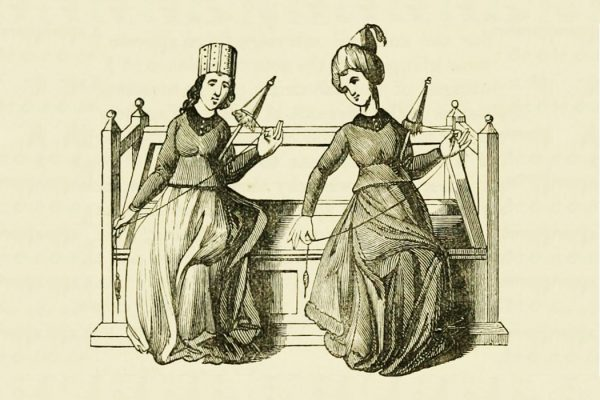 Two women spinning silk in the 15th century