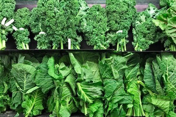 Produce on a shelf at a supermarket