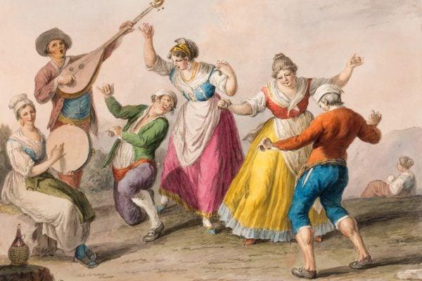 Tarantella dancers, 1828