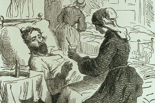 Volunteer nurses tending to the sick and wounded.