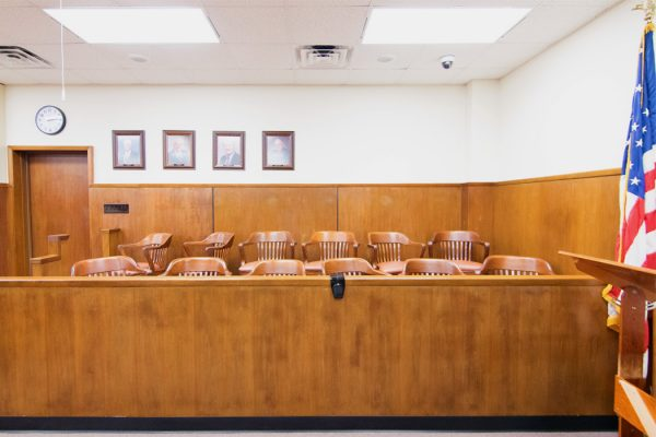 A jury box in a courtroom in Texas.