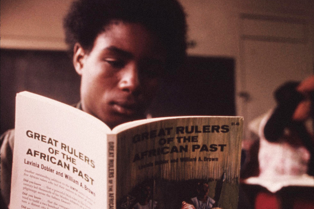 Student in a Black Studies class in a west side Chicago classroom, 1973