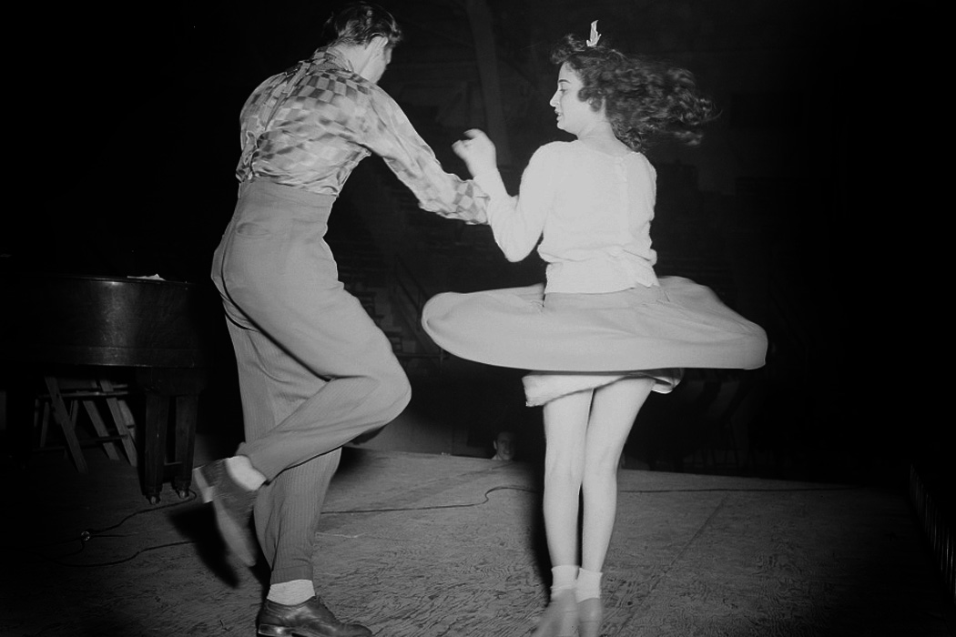 Two teenagers dancing the jitterbug, 1942