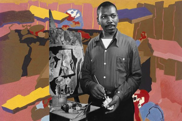Jacob Lawrence and one of his paintings