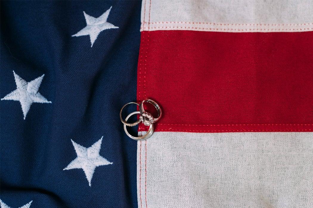 Wedding rings on an American flag