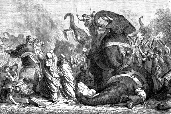 The war elephants of Phyrrus at the battle of Asculum, 279 B.C.